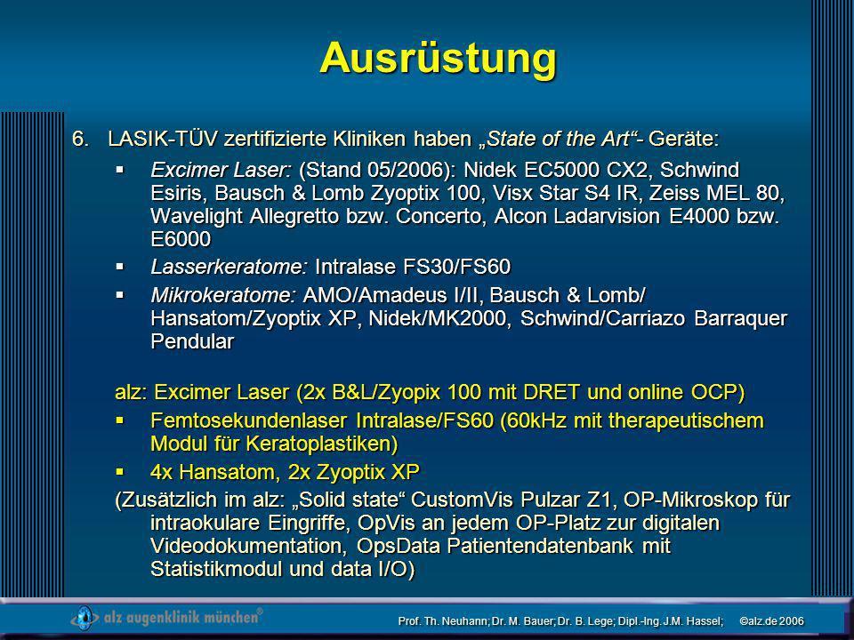 Prof. Th. Neuhann; Dr. M. Bauer; Dr. B. Lege; Dipl.-Ing. J.M. Hassel; ©alz.de 2006 Ausrüstung LASIK-TÜV zertifizierte Kliniken haben State of the Art-