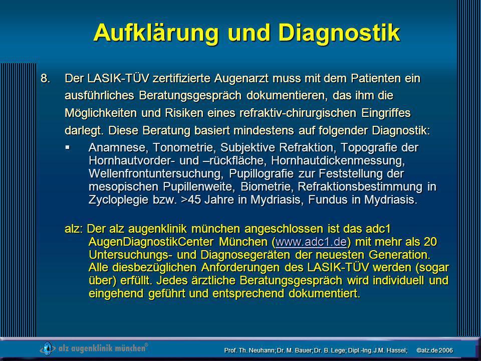 Prof. Th. Neuhann; Dr. M. Bauer; Dr. B. Lege; Dipl.-Ing. J.M. Hassel; ©alz.de 2006 Aufklärung und Diagnostik Der LASIK-TÜV zertifizierte Augenarzt mus
