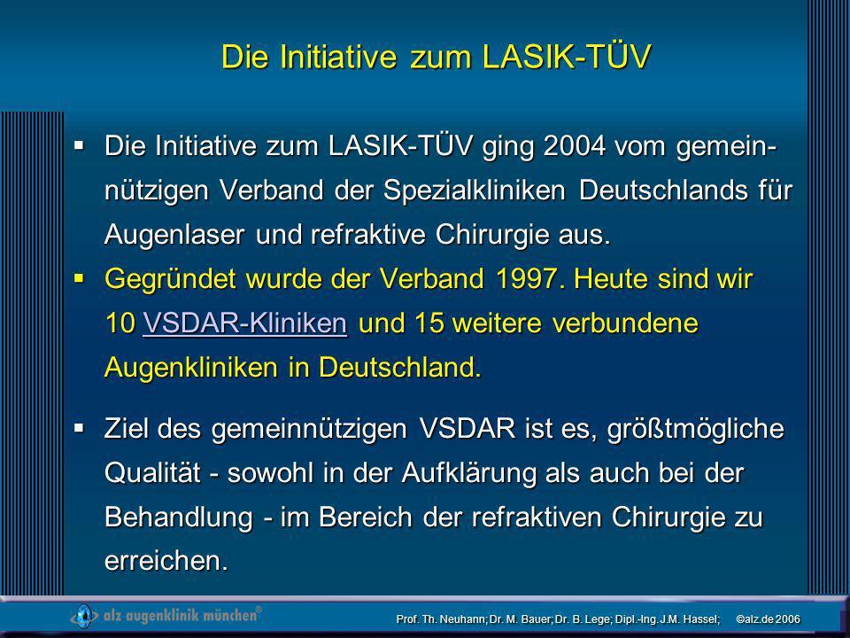 Prof. Th. Neuhann; Dr. M. Bauer; Dr. B. Lege; Dipl.-Ing. J.M. Hassel; ©alz.de 2006 Die Initiative zum LASIK-TÜV Die Initiative zum LASIK-TÜV ging 2004
