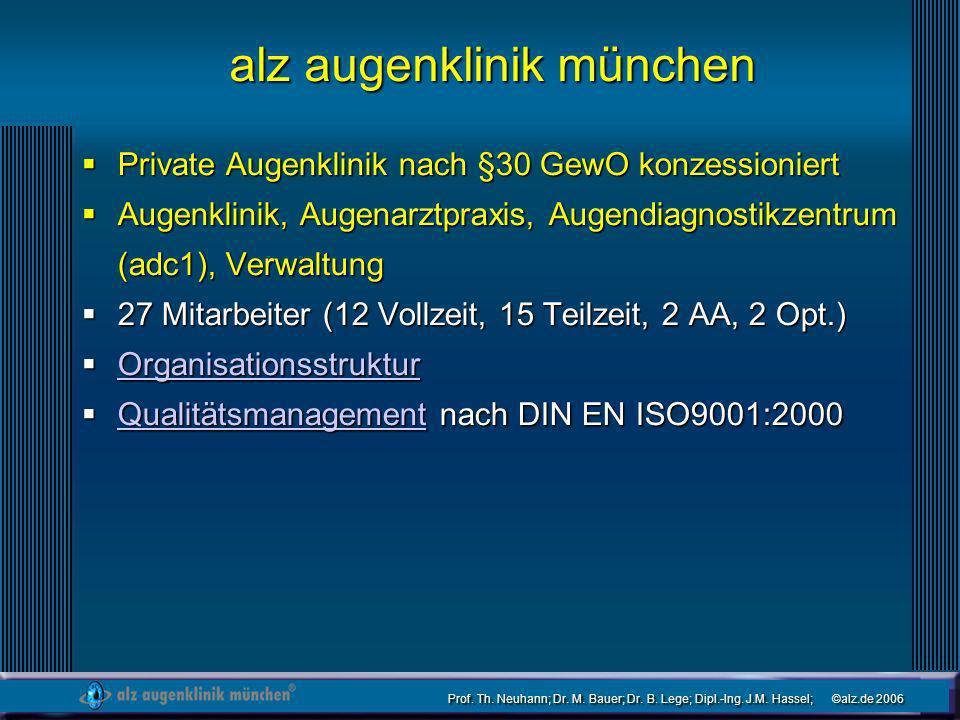 Prof. Th. Neuhann; Dr. M. Bauer; Dr. B. Lege; Dipl.-Ing. J.M. Hassel; ©alz.de 2006 alz augenklinik münchen Private Augenklinik nach §30 GewO konzessio