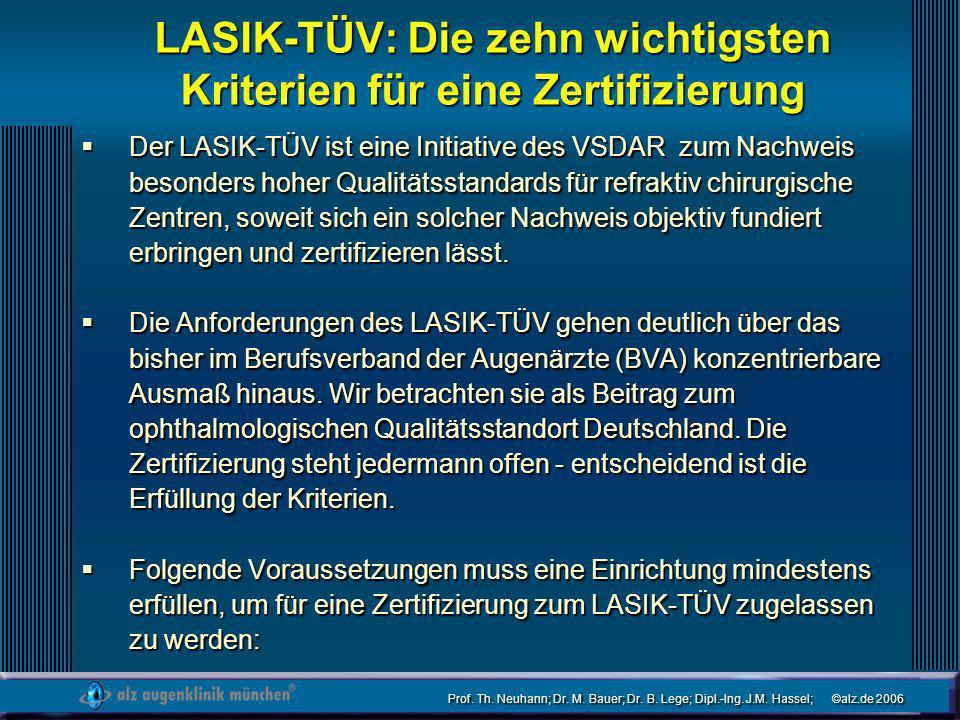 Prof. Th. Neuhann; Dr. M. Bauer; Dr. B. Lege; Dipl.-Ing. J.M. Hassel; ©alz.de 2006 LASIK-TÜV: Die zehn wichtigsten Kriterien für eine Zertifizierung D