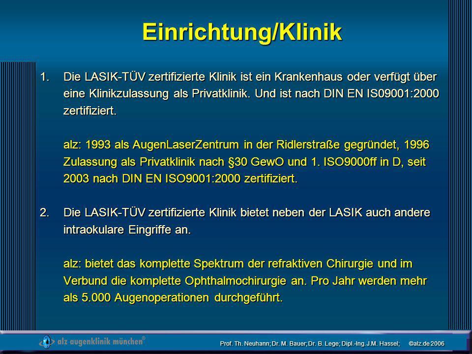 Prof. Th. Neuhann; Dr. M. Bauer; Dr. B. Lege; Dipl.-Ing. J.M. Hassel; ©alz.de 2006 Einrichtung/Klinik Die LASIK-TÜV zertifizierte Klinik ist ein Krank