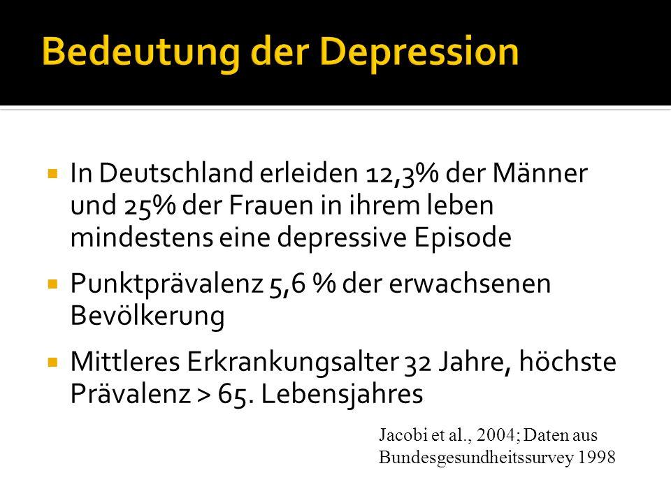 In Deutschland erleiden 12,3% der Männer und 25% der Frauen in ihrem leben mindestens eine depressive Episode Punktprävalenz 5,6 % der erwachsenen Bev