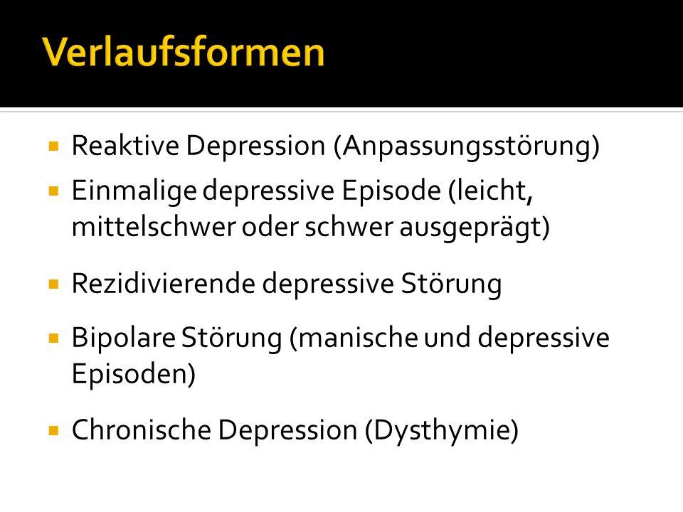 Reaktive Depression (Anpassungsstörung) Einmalige depressive Episode (leicht, mittelschwer oder schwer ausgeprägt) Rezidivierende depressive Störung B