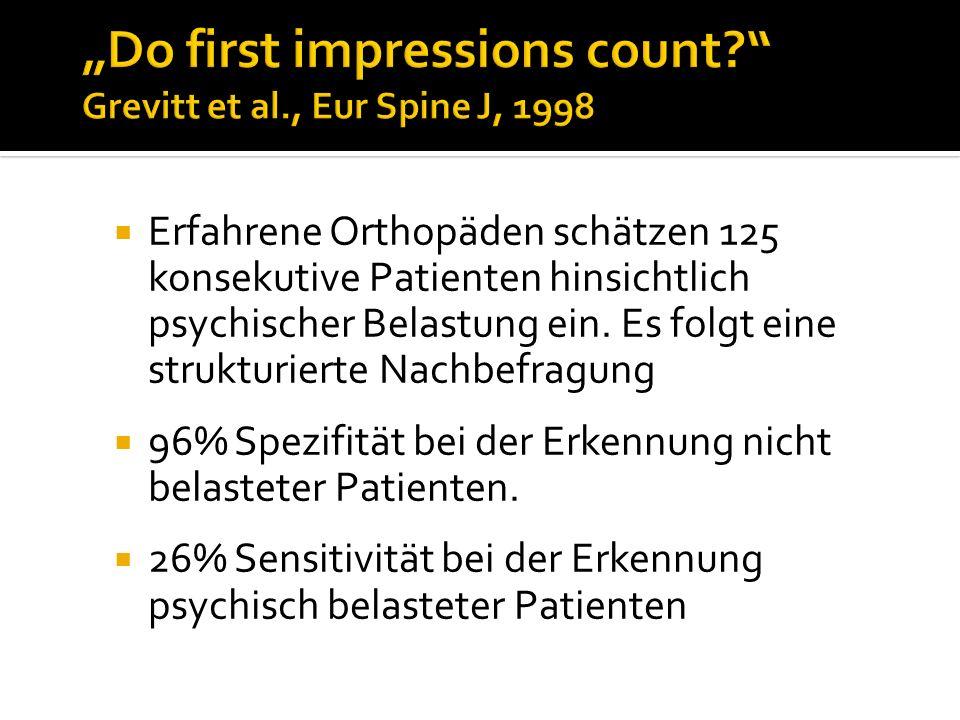 Erfahrene Orthopäden schätzen 125 konsekutive Patienten hinsichtlich psychischer Belastung ein. Es folgt eine strukturierte Nachbefragung 96% Spezifit
