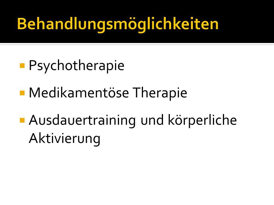 Psychotherapie Medikamentöse Therapie Ausdauertraining und körperliche Aktivierung