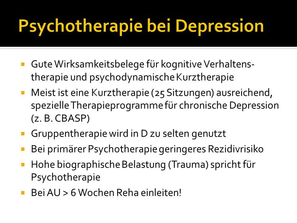 Gute Wirksamkeitsbelege für kognitive Verhaltens- therapie und psychodynamische Kurztherapie Meist ist eine Kurztherapie (25 Sitzungen) ausreichend, s