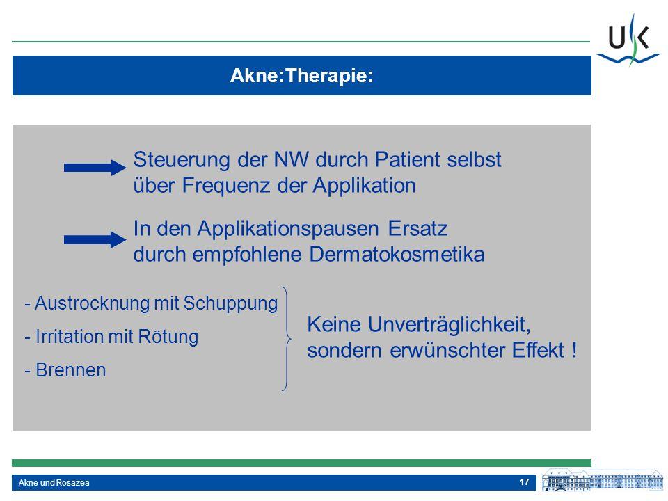 17 Akne und Rosazea Akne:Therapie: Ausführliche und für den Patienten verständliche Aufklärung über die Erkrankung über die Dauer der Therapie über Ne