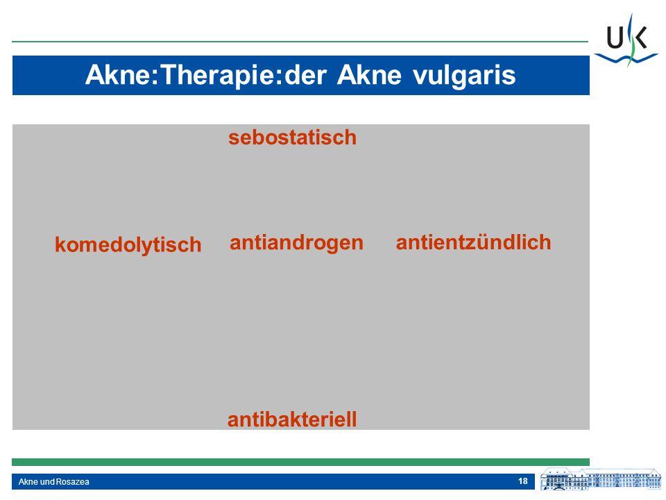 18 Akne und Rosazea Akne:Therapie:der Akne vulgaris sebostatisch komedolytisch antientzündlich antiandrogen antibakteriell