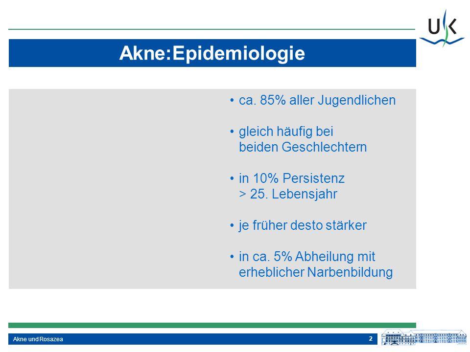 2 Akne:Epidemiologie Akne und Rosazea ca. 85% aller Jugendlichen gleich häufig bei beiden Geschlechtern in 10% Persistenz > 25. Lebensjahr je früher d