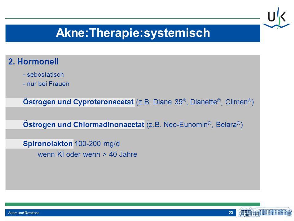 23 Akne und Rosazea 2. Hormonell - sebostatisch - nur bei Frauen Akne:Therapie:systemisch Östrogen und Cyproteronacetat (z.B. Diane 35 ®, Dianette ®,