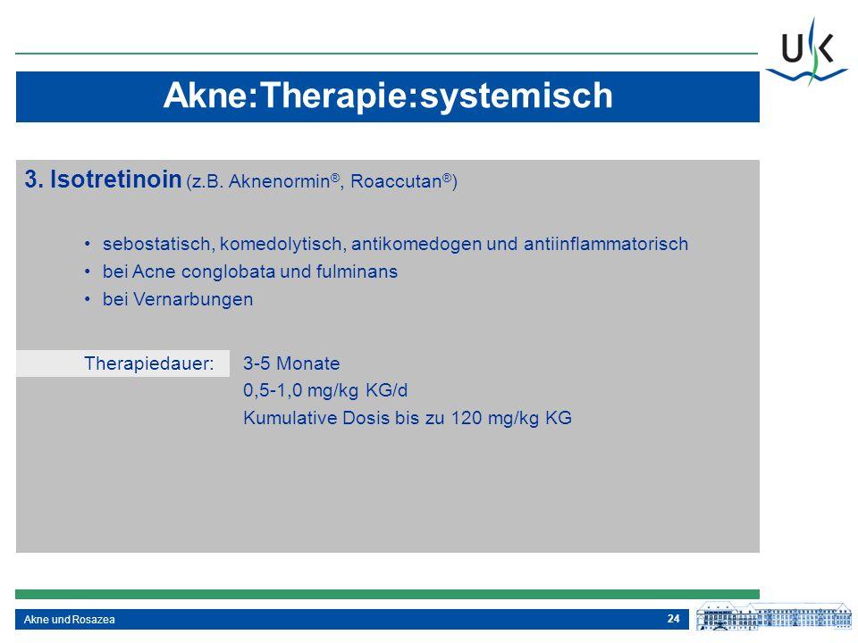 24 Akne und Rosazea 3. Isotretinoin (z.B. Aknenormin ®, Roaccutan ® ) sebostatisch, komedolytisch, antikomedogen und antiinflammatorisch bei Acne cong