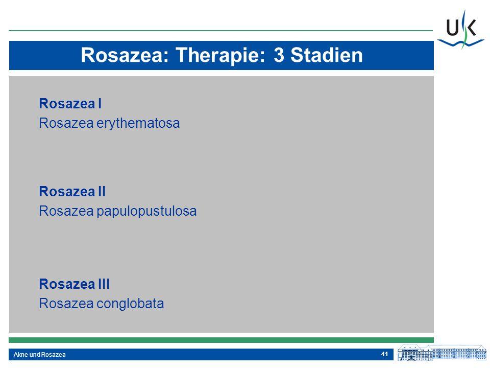 41 Akne und Rosazea Rosazea: Therapie: 3 Stadien Rosazea I Rosazea erythematosa Rosazea II Rosazea papulopustulosa Rosazea III Rosazea conglobata