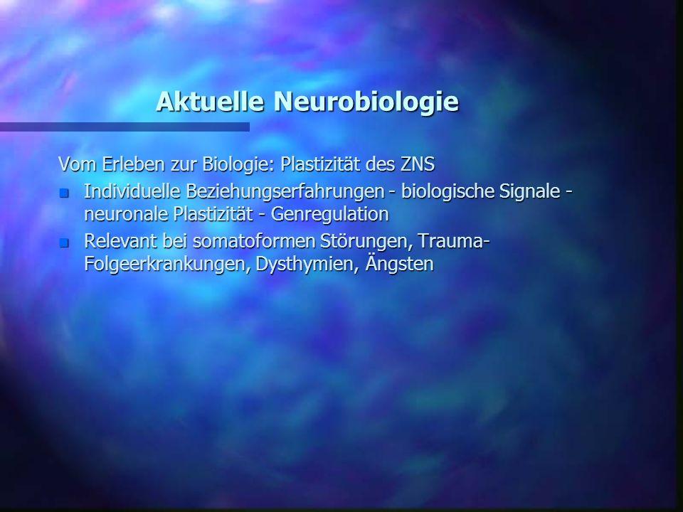 Aktuelle Neurobiologie Vom Erleben zur Biologie: Plastizität des ZNS n Individuelle Beziehungserfahrungen - biologische Signale - neuronale Plastizitä