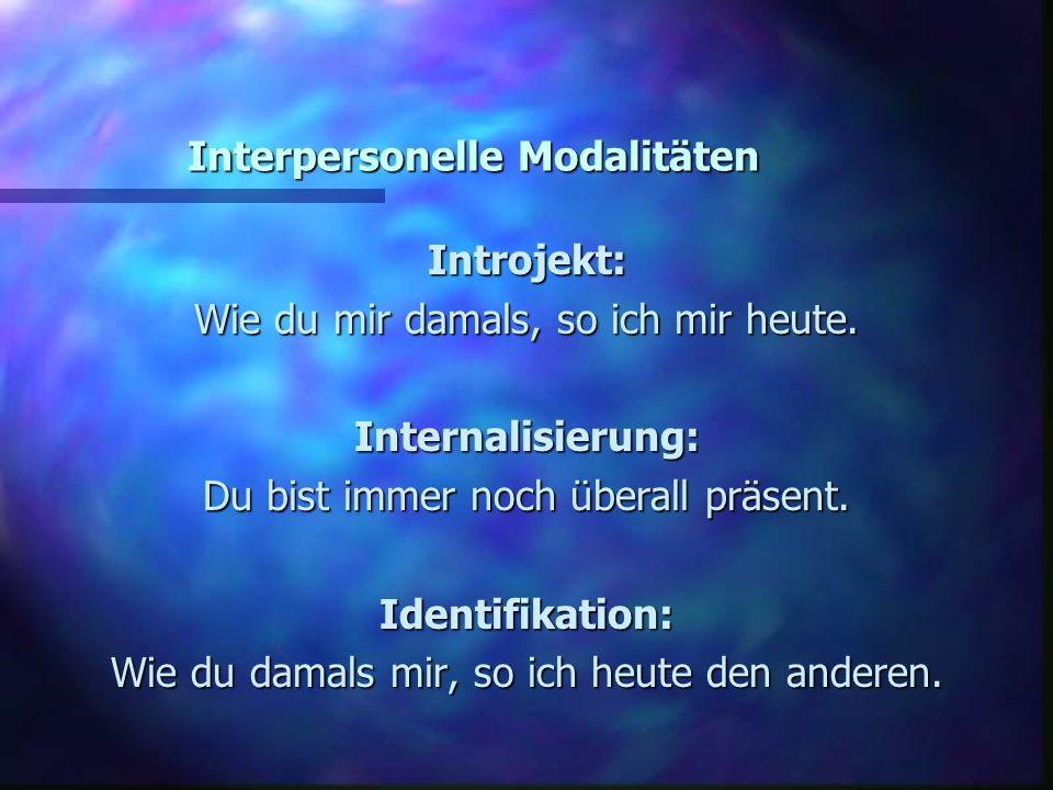 Interpersonelle Modalitäten Introjekt: Wie du mir damals, so ich mir heute. Internalisierung: Du bist immer noch überall präsent. Identifikation: Wie