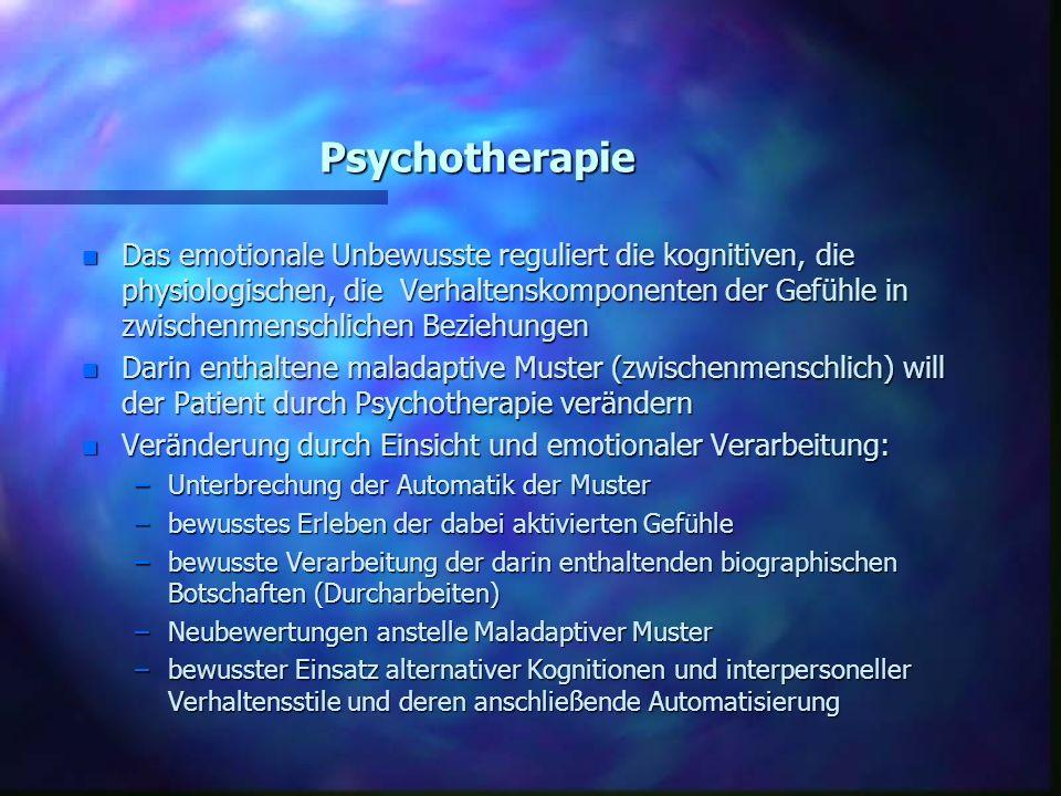 Psychotherapie n Das emotionale Unbewusste reguliert die kognitiven, die physiologischen, die Verhaltenskomponenten der Gefühle in zwischenmenschliche