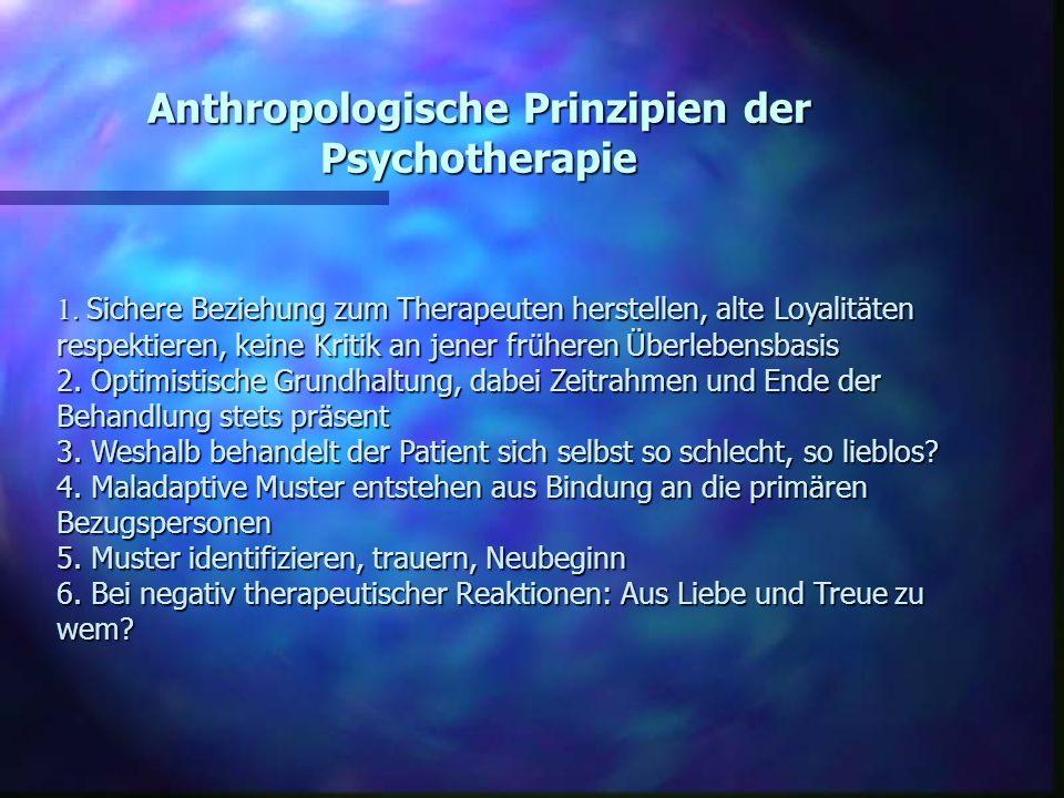 Anthropologische Prinzipien der Psychotherapie 1. Sichere Beziehung zum Therapeuten herstellen, alte Loyalitäten respektieren, keine Kritik an jener f