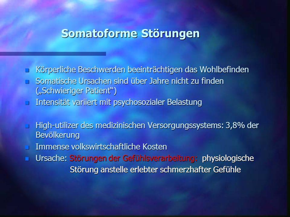 Somatoforme Störungen n Körperliche Beschwerden beeinträchtigen das Wohlbefinden n Somatische Ursachen sind über Jahre nicht zu finden (Schwieriger Pa