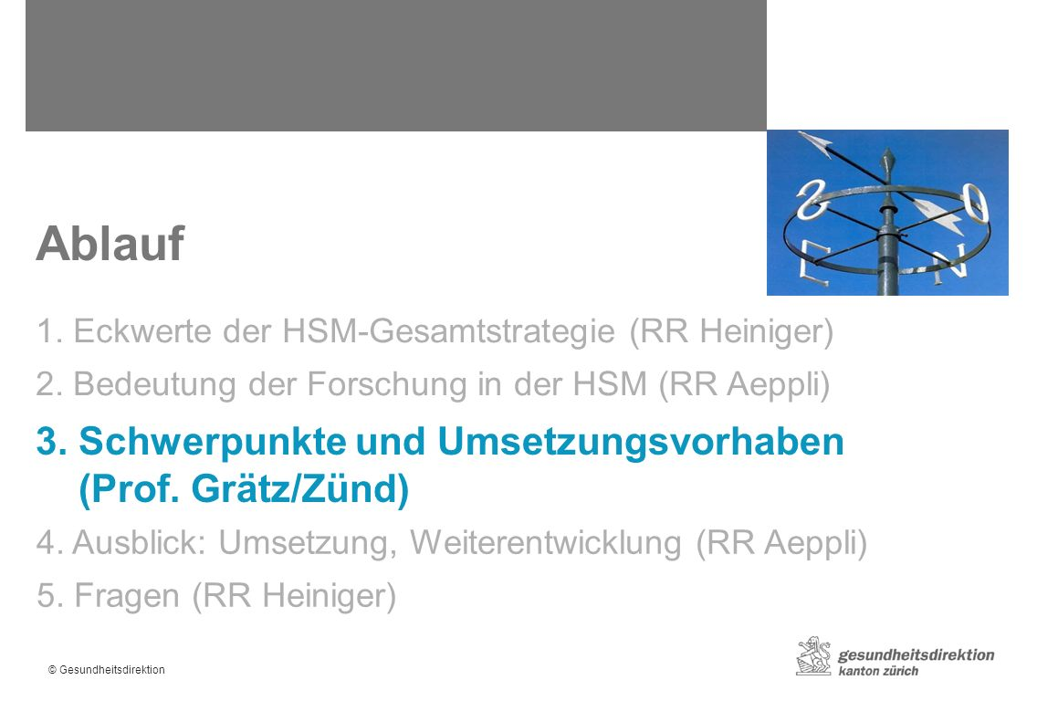 © Gesundheitsdirektion Ablauf 1. Eckwerte der HSM-Gesamtstrategie (RR Heiniger) 2.