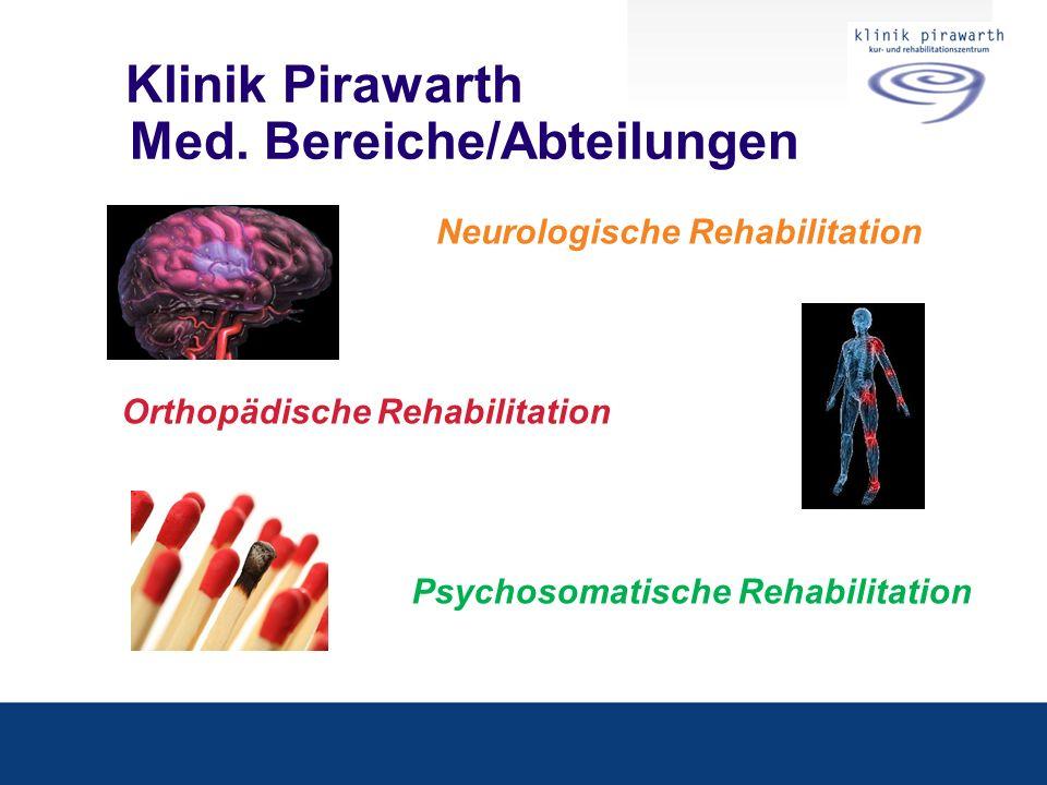 Klinik Pirawarth Med. Bereiche/Abteilungen Neurologische Rehabilitation Orthopädische Rehabilitation Psychosomatische Rehabilitation