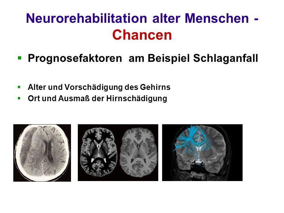 Neurorehabilitation alter Menschen - Chancen Prognosefaktoren am Beispiel Schlaganfall Alter und Vorschädigung des Gehirns Ort und Ausmaß der Hirnschädigung