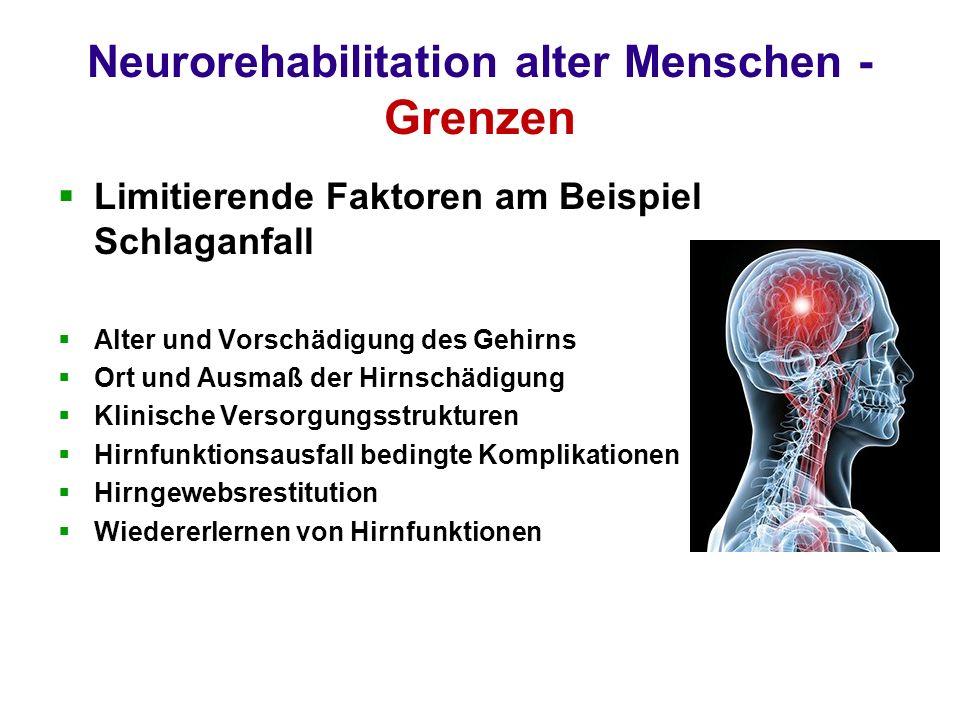 Neurorehabilitation alter Menschen - Grenzen Limitierende Faktoren am Beispiel Schlaganfall Alter und Vorschädigung des Gehirns Ort und Ausmaß der Hirnschädigung Klinische Versorgungsstrukturen Hirnfunktionsausfall bedingte Komplikationen Hirngewebsrestitution Wiedererlernen von Hirnfunktionen