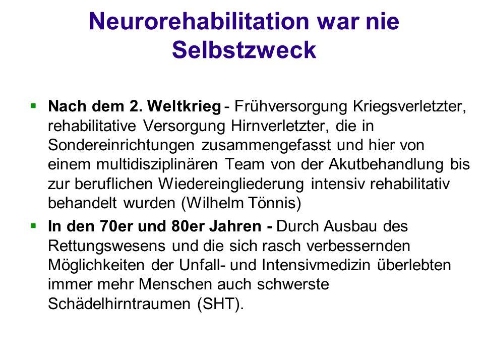 Neurorehabilitation war nie Selbstzweck Nach dem 2. Weltkrieg - Frühversorgung Kriegsverletzter, rehabilitative Versorgung Hirnverletzter, die in Sond