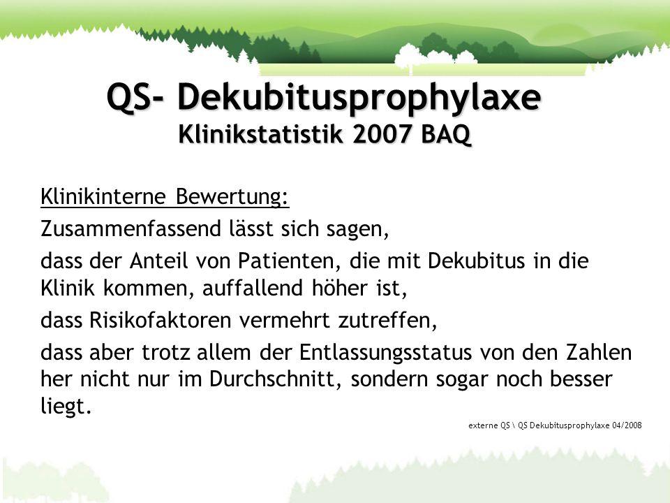 QS- Dekubitusprophylaxe Klinikstatistik 2007 BAQ Klinikinterne Bewertung: Zusammenfassend lässt sich sagen, dass der Anteil von Patienten, die mit Dek