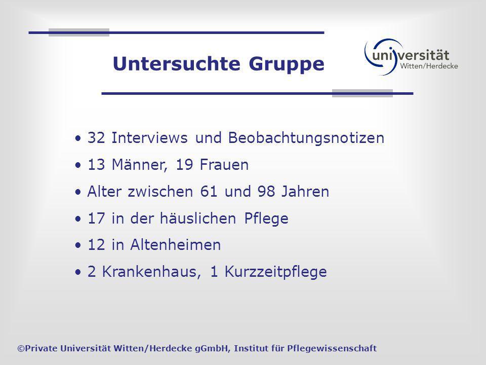 32 Interviews und Beobachtungsnotizen 13 Männer, 19 Frauen Alter zwischen 61 und 98 Jahren 17 in der häuslichen Pflege 12 in Altenheimen 2 Krankenhaus