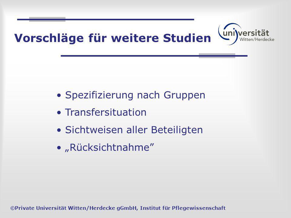 Spezifizierung nach Gruppen Transfersituation Sichtweisen aller Beteiligten Rücksichtnahme ©Private Universität Witten/Herdecke gGmbH, Institut für Pf
