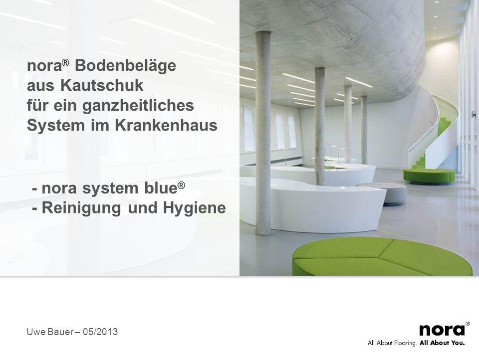 11 Was ist nora system blue ® Betrachtung des Fußbodens als Gesamtsystem Entscheidend ist auch, was unter dem Belag passiert Ein perfekt aufeinander abgestimmtes, nachhaltig ausgerichtetes und zertifiziertes System Emissionsarme Systemprodukte