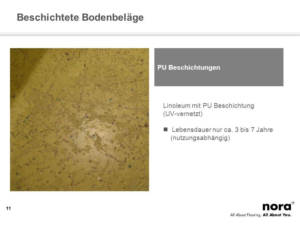 Beschichtete Bodenbeläge Linoleum mit PU Beschichtung (UV-vernetzt) Lebensdauer nur ca. 3 bis 7 Jahre (nutzungsabhängig) PU Beschichtungen 11