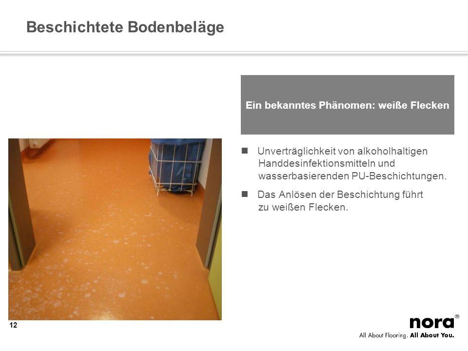 Beschichtete Bodenbeläge Ein bekanntes Phänomen: weiße Flecken Unverträglichkeit von alkoholhaltigen Handdesinfektionsmitteln und wasserbasierenden PU