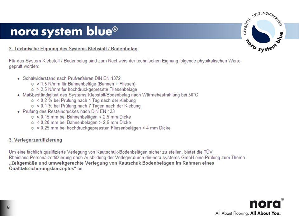 77 Alle relevanten nora ® Bodenbeläge aus Kautschuk sind mit dem Umweltzeichen Blauer Engel ausgezeichnet (RAL-UZ 120).