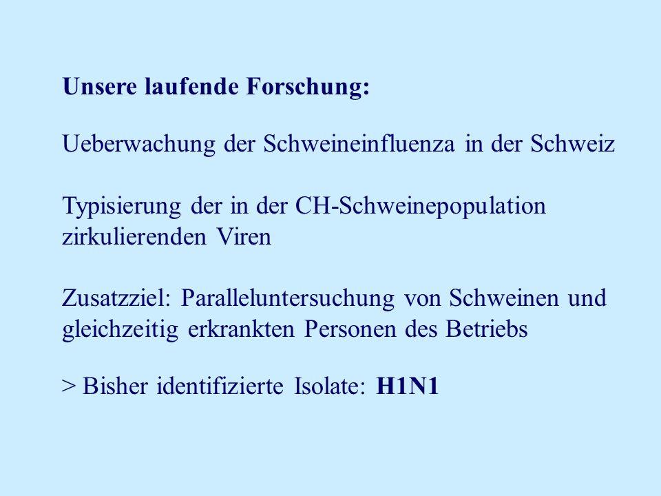 Unsere laufende Forschung: Ueberwachung der Schweineinfluenza in der Schweiz Typisierung der in der CH-Schweinepopulation zirkulierenden Viren Zusatzz