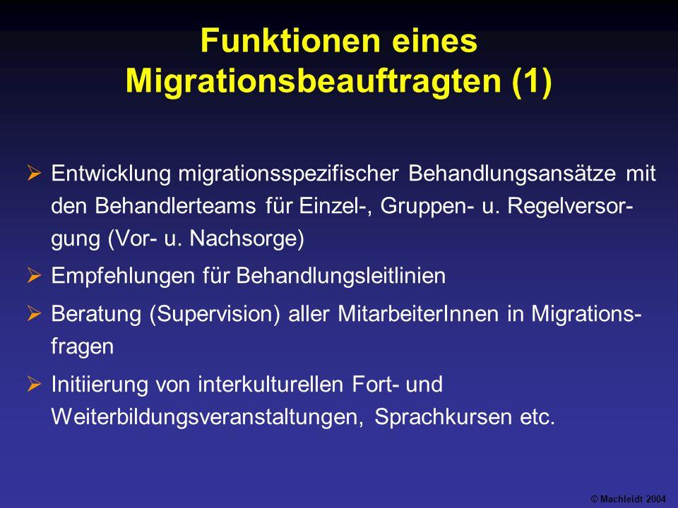 Funktionen eines Migrationsbeauftragten (1) Entwicklung migrationsspezifischer Behandlungsansätze mit den Behandlerteams für Einzel-, Gruppen- u.