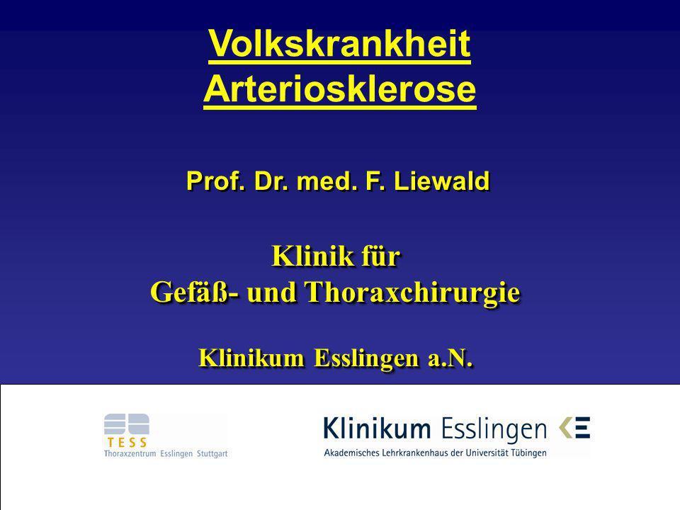 Prof. Dr. med. F. Liewald Klinik für Gefäß- und Thoraxchirurgie Klinikum Esslingen a.N. Prof. Dr. med. F. Liewald Klinik für Gefäß- und Thoraxchirurgi
