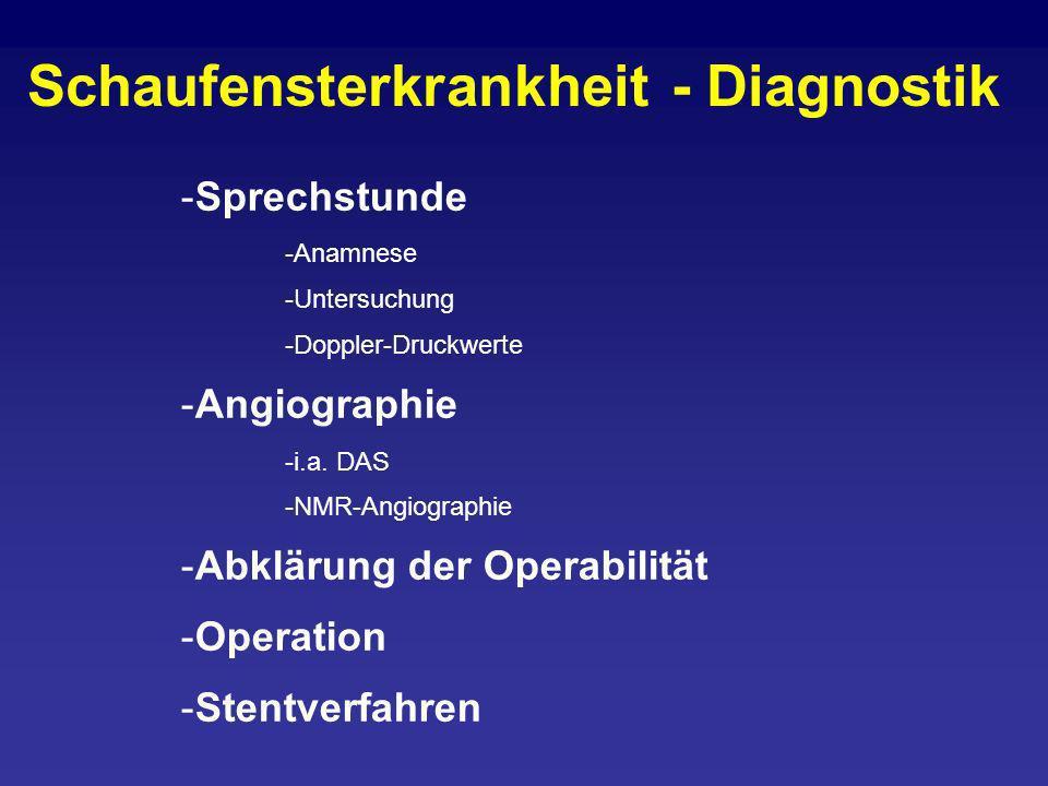 -Sprechstunde -Anamnese -Untersuchung -Doppler-Druckwerte -Angiographie -i.a. DAS -NMR-Angiographie -Abklärung der Operabilität -Operation -Stentverfa