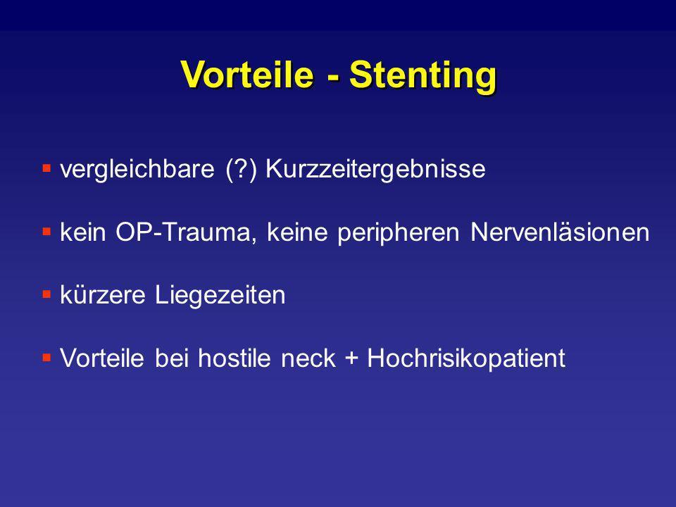Vorteile - Stenting vergleichbare (?) Kurzzeitergebnisse kein OP-Trauma, keine peripheren Nervenläsionen kürzere Liegezeiten Vorteile bei hostile neck