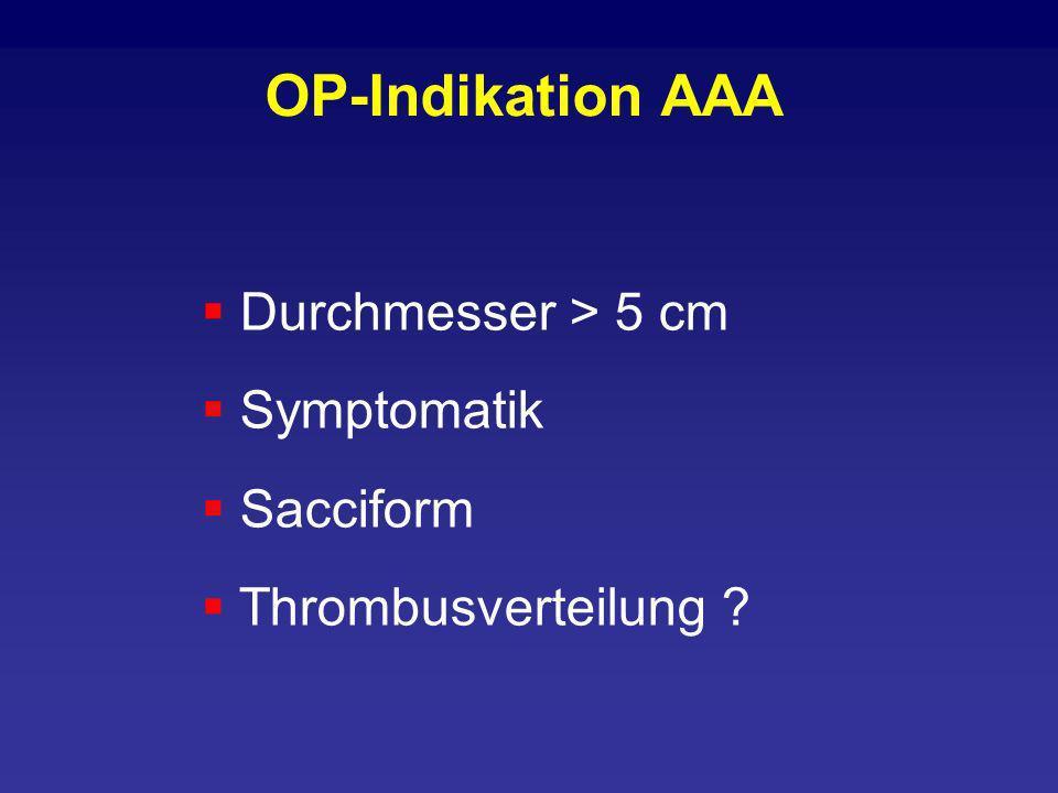 OP-Indikation AAA Durchmesser > 5 cm Symptomatik Sacciform Thrombusverteilung ?