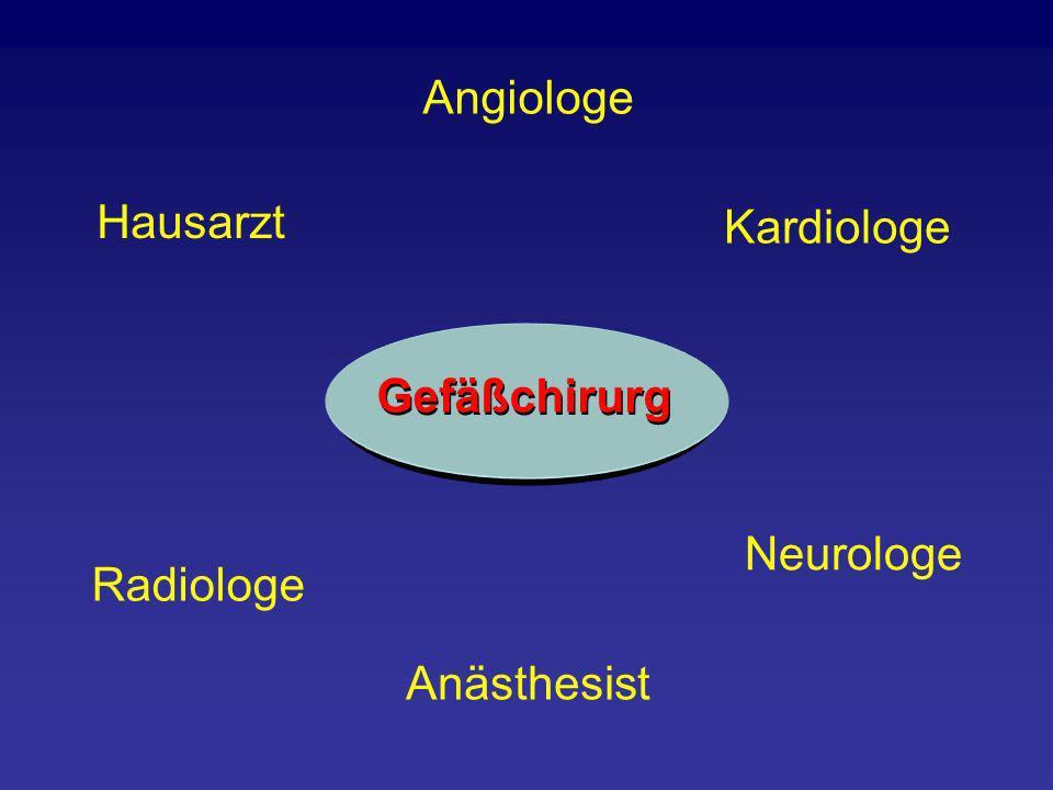 Angiologe Hausarzt Radiologe Anästhesist Neurologe Kardiologe Gefäßchirurg