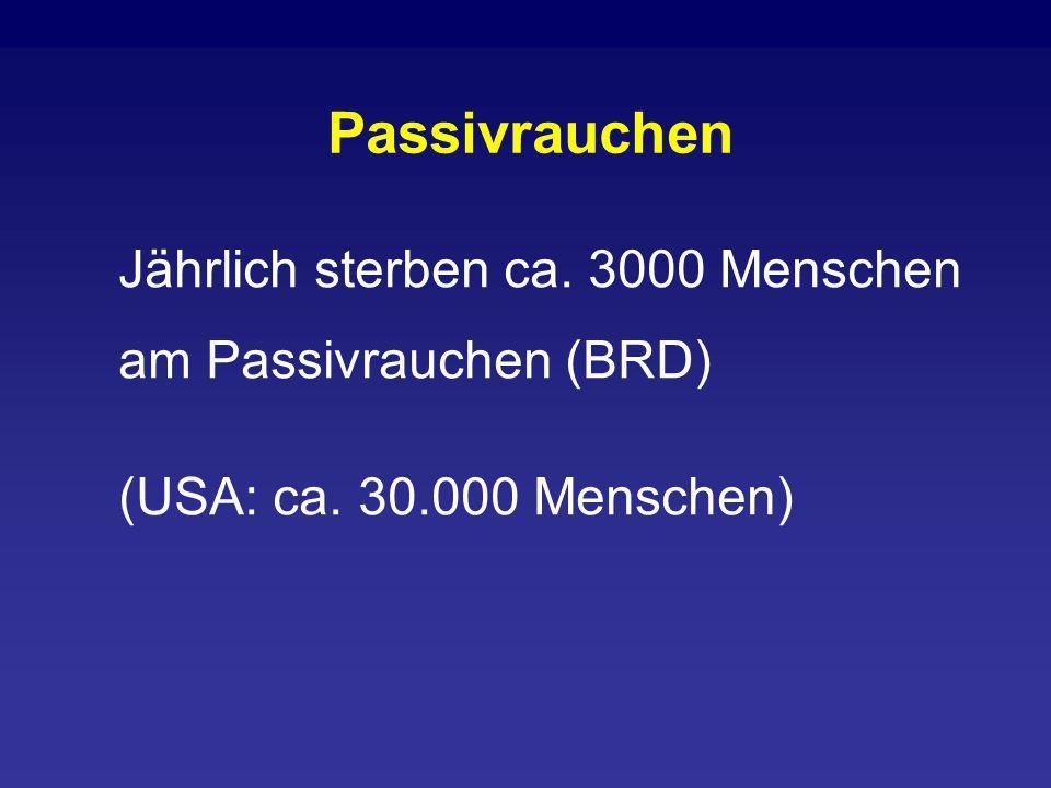 Jährlich sterben ca. 3000 Menschen am Passivrauchen (BRD) (USA: ca. 30.000 Menschen) Passivrauchen