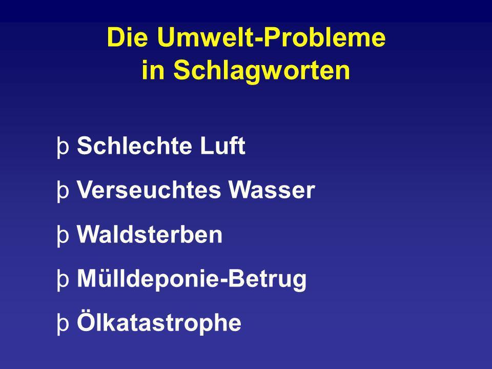 þ Schlechte Luft þ Verseuchtes Wasser þ Waldsterben þ Mülldeponie-Betrug þ Ölkatastrophe Die Umwelt-Probleme in Schlagworten
