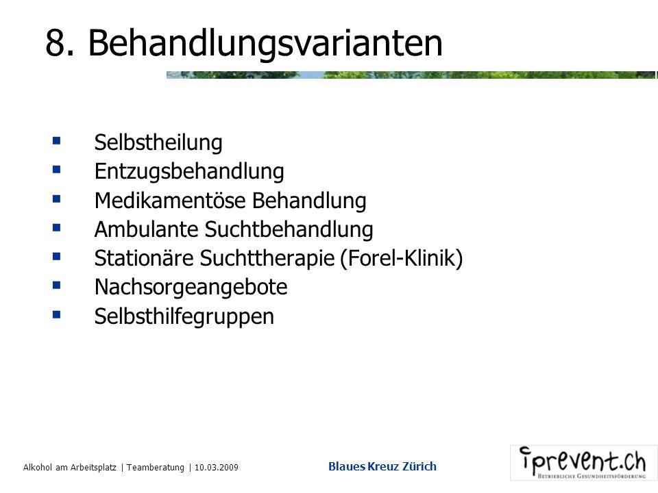 Alkohol am Arbeitsplatz | Teamberatung | 10.03.2009 Blaues Kreuz Zürich 7. Risikofaktor Co-Abhängigkeit Suchtverhalten Nicht ansprechenzudecken überse