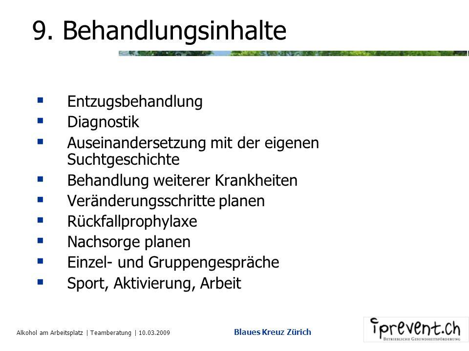 Alkohol am Arbeitsplatz | Teamberatung | 10.03.2009 Blaues Kreuz Zürich 8. Behandlungsvarianten Selbstheilung Entzugsbehandlung Medikamentöse Behandlu