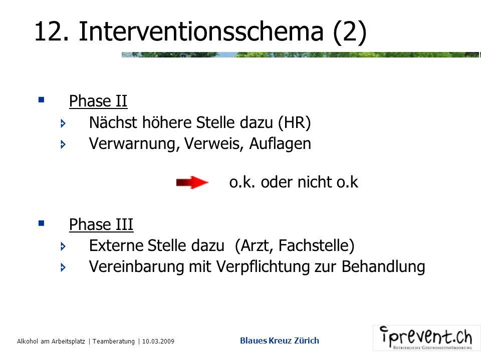 Alkohol am Arbeitsplatz | Teamberatung | 10.03.2009 Blaues Kreuz Zürich 12. Interventionsschema (1) Interventionen laufen in unterschiedlichen Phasen