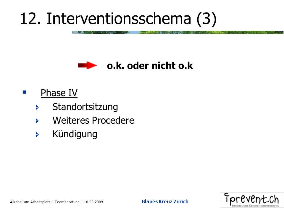 Alkohol am Arbeitsplatz | Teamberatung | 10.03.2009 Blaues Kreuz Zürich 12. Interventionsschema (2) Phase II Nächst höhere Stelle dazu (HR) Verwarnung