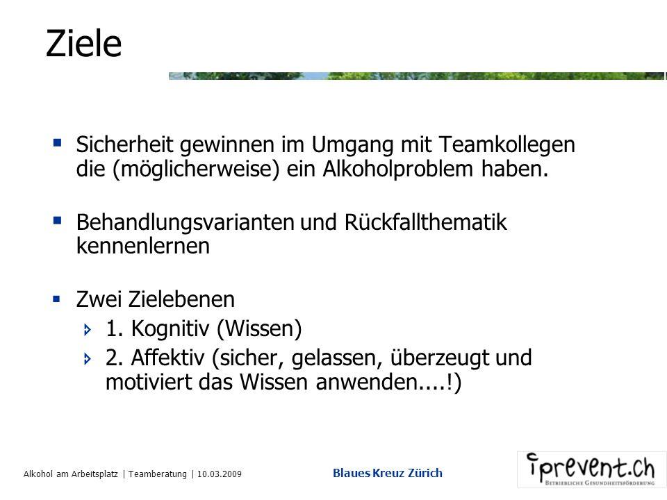 Alkohol am Arbeitsplatz | Teamberatung | 10.03.2009 Blaues Kreuz Zürich Ziele Sicherheit gewinnen im Umgang mit Teamkollegen die (möglicherweise) ein Alkoholproblem haben.