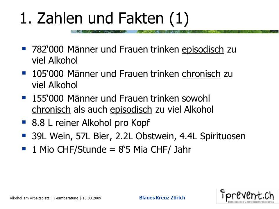Alkohol am Arbeitsplatz | Teamberatung | 10.03.2009 Blaues Kreuz Zürich 1.