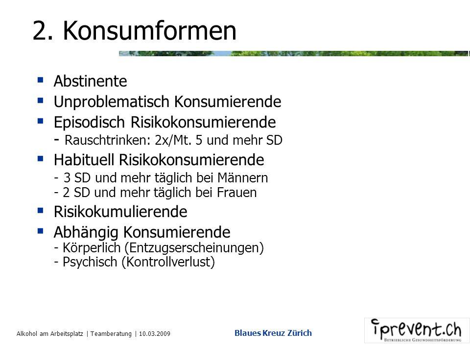 Alkohol am Arbeitsplatz | Teamberatung | 10.03.2009 Blaues Kreuz Zürich 1. Zahlen und Fakten (2) Zur Behandlung im Kanton Zürich: Ca. 55000 Personen D